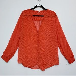 Old Navy Red & White Floral Chiffon Blouse